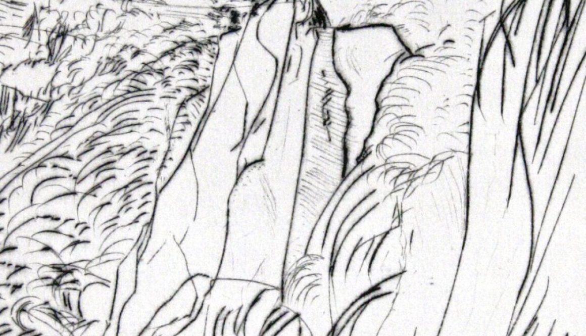 """Torsten Schlüter, """"Einsteins Cliff"""", Edition Hiddensee, 2010, Kaltnadelradierung, 20x20cm"""