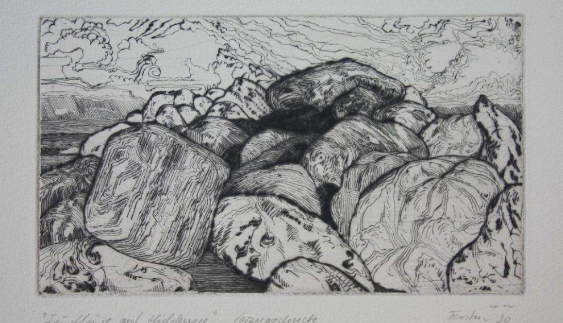 """Torsten Schlüter, """"Findlinge"""", 1988, Kaltnadelradierung, 13x18cm"""