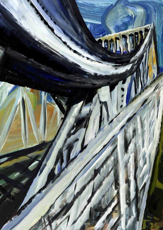 "Torsten Schlüter, ""Glienicker Brücke"", 1994, Acryl, 105x76cm"