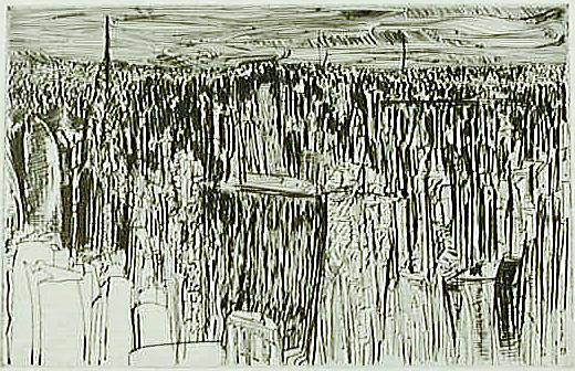 """Torsten Schlüter, """"Haie über Manhattan"""", 1993, Kaltnadelradierung, 40x20cm"""