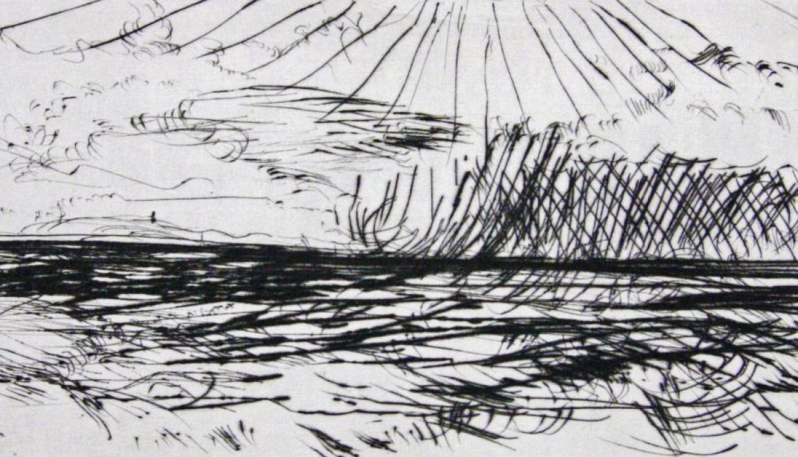 """Torsten Schlüter, """"Hedinsey"""", Edition Hiddensee, 2010, Kaltnadelradierung, 15x30cm"""