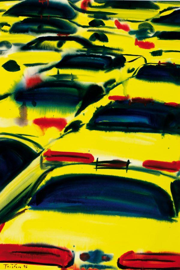 """Torsten Schlüter, """"Yellow Cabs VII"""", 1995, Aquarell, 102x75cm"""