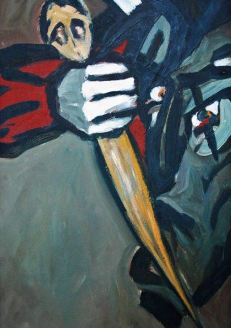 """Torsten Schlüter, """"Die Gewalt"""", 1991, Öl auf Leinwand, 130x65cm"""
