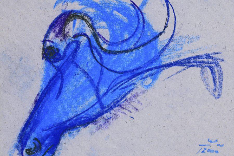 """Torsten Schlüter, """"Blueman"""", 2000, Kreide, 17,5x25,5cm"""