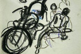 "Torsten Schlüter, ""Werkstatt in Kamalapuram"", 1998, Kreide, 15x21cm"