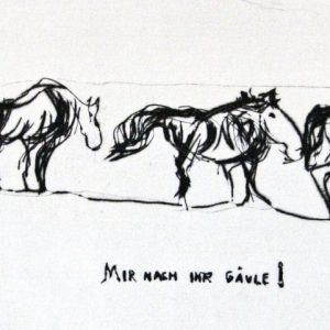 """Torsten Schlüter, """"Mir nach Ihr Gäule!"""""""", Edition Hiddensee, 2010, Kaltnadelradierung, 15x30cm"""