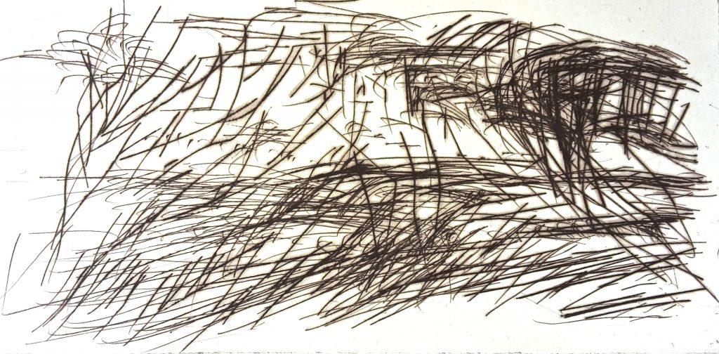 """Torsten Schlüter, """"Stürmisches Treiben"""", 2007, Kaltnadel, 15x30cm"""
