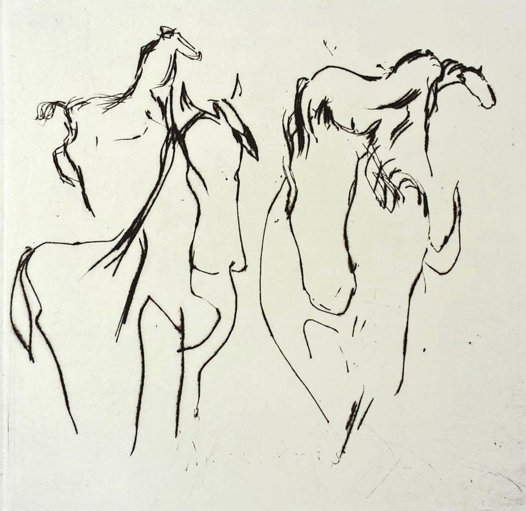 """Torsten Schlüter, """"Verliebte Pferde"""", 2007, Kaltnadelradierung, 20x20cm"""