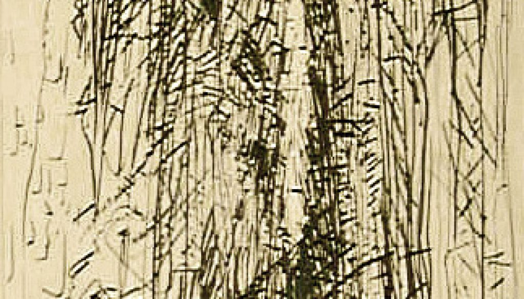 "Torsten Schlüter, ""Wallstreet"", 1994, Kaltnadelradierung, 40x20cm"