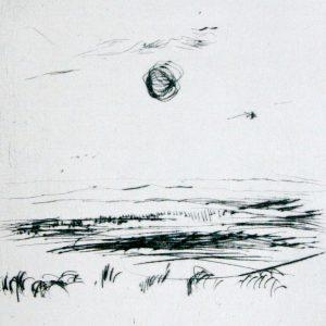 """Torsten Schlüter, """"Warten auf Persephone"""", Edition Hiddensee, 2010, Kaltnadelradierung, 20x20cm"""