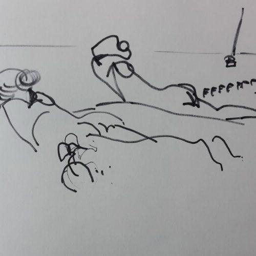 """Torsten Schlüter, """"Zwei Liegende"""", 2016, Fineliner, 10x14cm"""