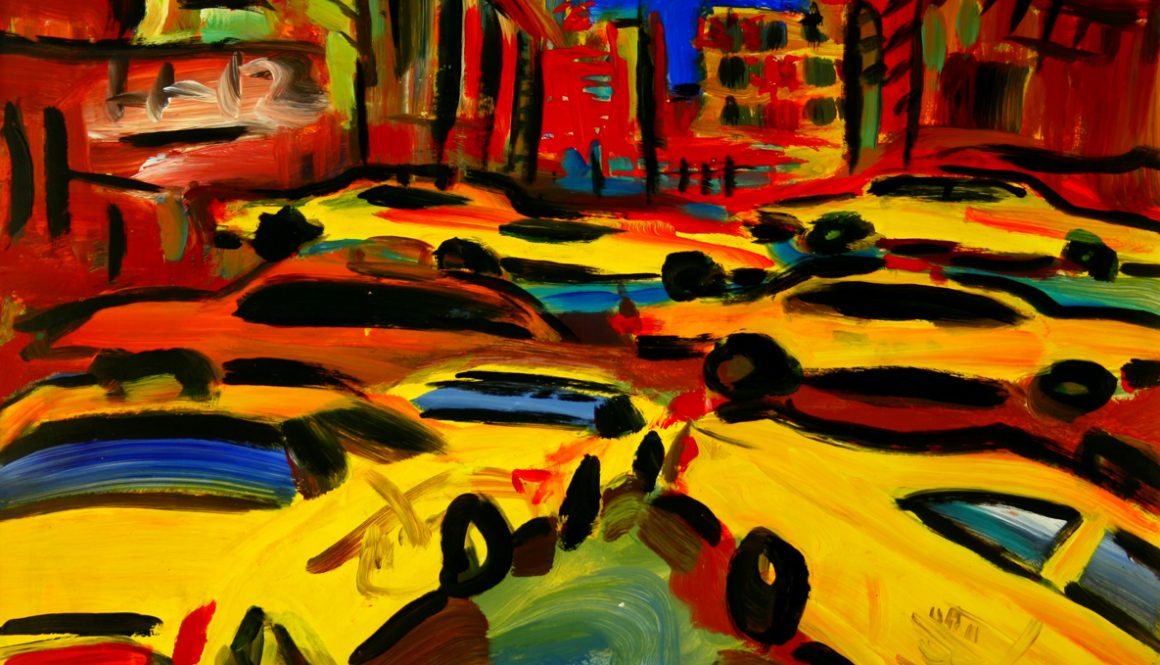 "Torsten Schlüter, ""Cabs every where"", 1994, Acryl, 76x105cm"