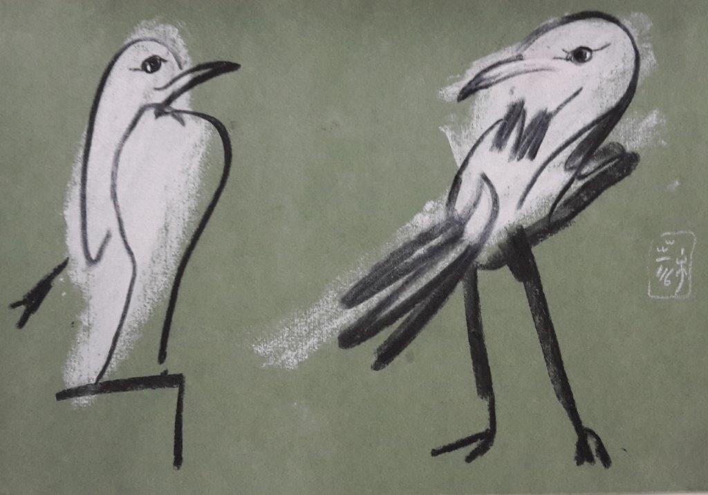 Torsten Schlüter, Auf dem hohen Sockel, 2016, Kreide auf getöntem Papier, 17,5 x 25,5cm