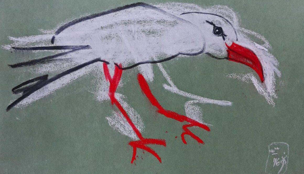 Der Routinier, (T.M.) 2016, Kreide auf getöntem Papier, 17,5x25,5cm