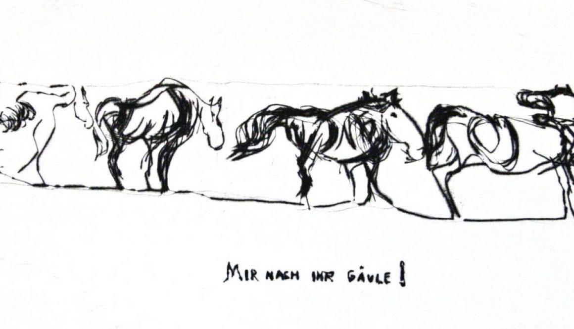 Mir nach Ihr Gäule! Kaltnadelradierung, 2011, 15x30cm_bearbeitet-1