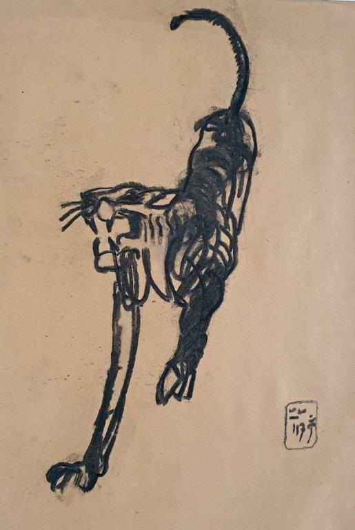 Black Cat, 2017, Kohle, 40 x 29cm