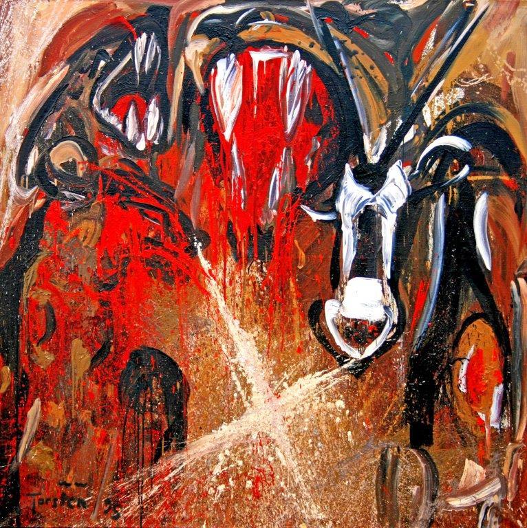 Das Grosse Fressen, 1996, Öl auf Leinwand, 180x180cm