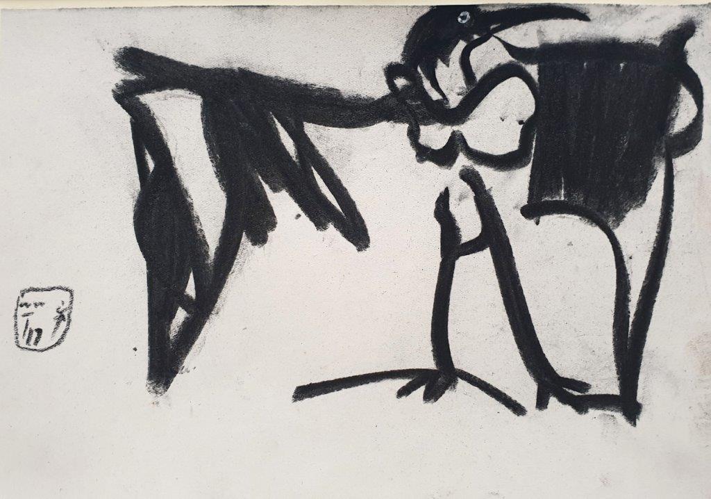 Der Magier, 2019, Kohle, 17,5 x 25,5cm