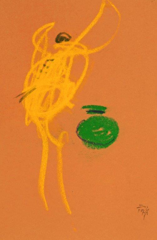 Libelle am Brunnen mit Kr, 2007, Pastell, 25,5x17,5cm