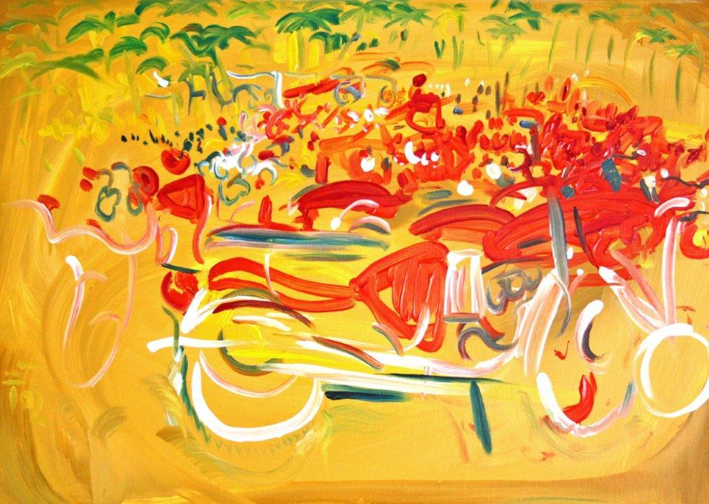 Mapsa Road (Stehende Herde), 2004, Öl auf Lw, 50x70cm