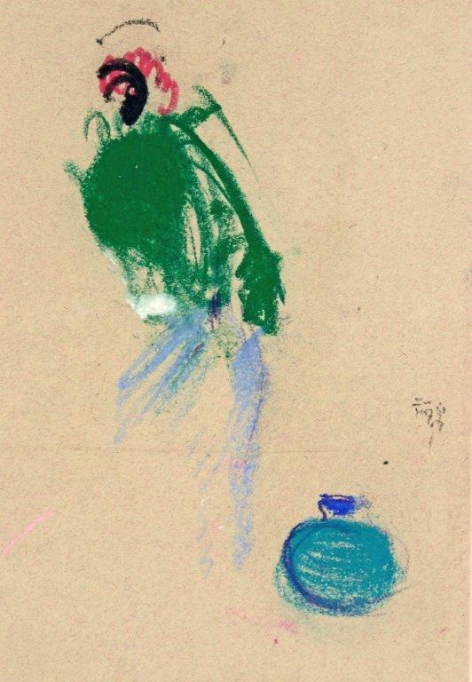 Mit Blauem Krug, 2007, Pastell, 25 x 17cm