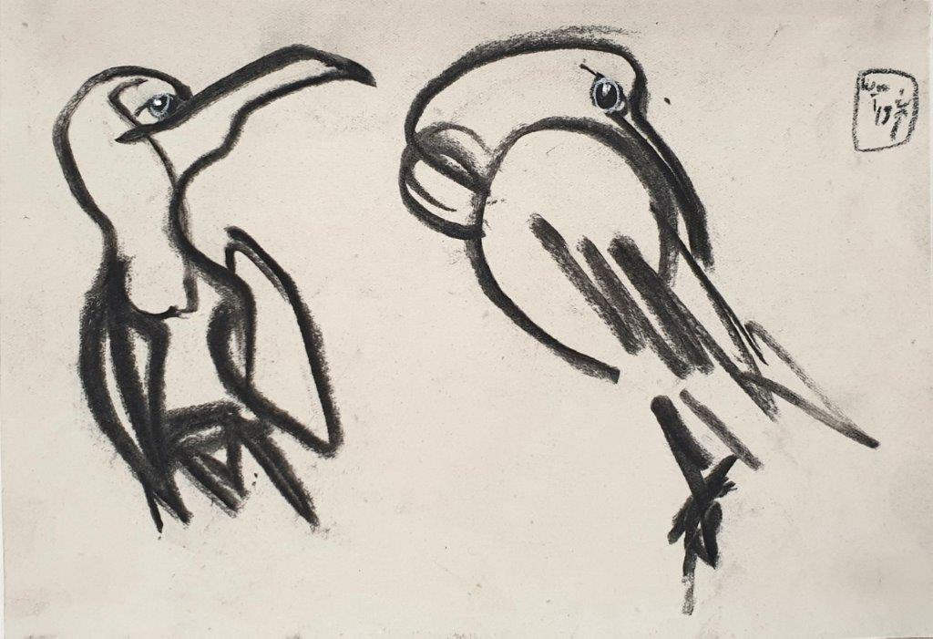 Rücken Freihalten, 2019, Kohle, 17,5x25,5cm