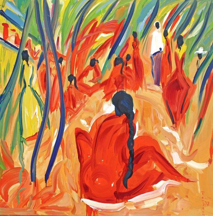 Yakshi, 1996, Öl auf Leinwand, 175 x 175cm
