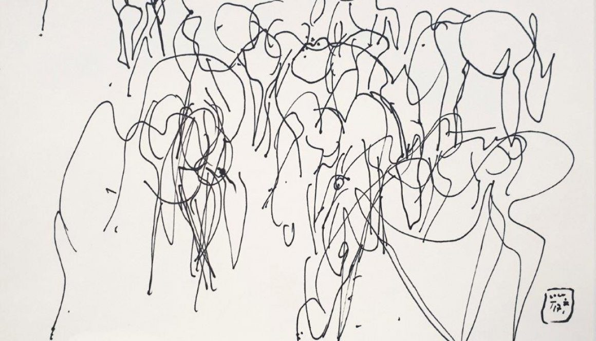 """Zeichnung """"Zusammengerückte Herde"""""""