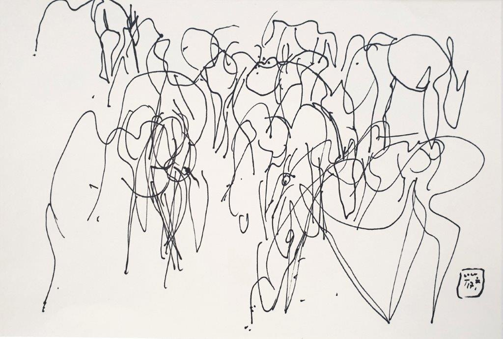 Zusammengerückte Herde, 2017, Tintenstift, 17,5 x 25,5cm