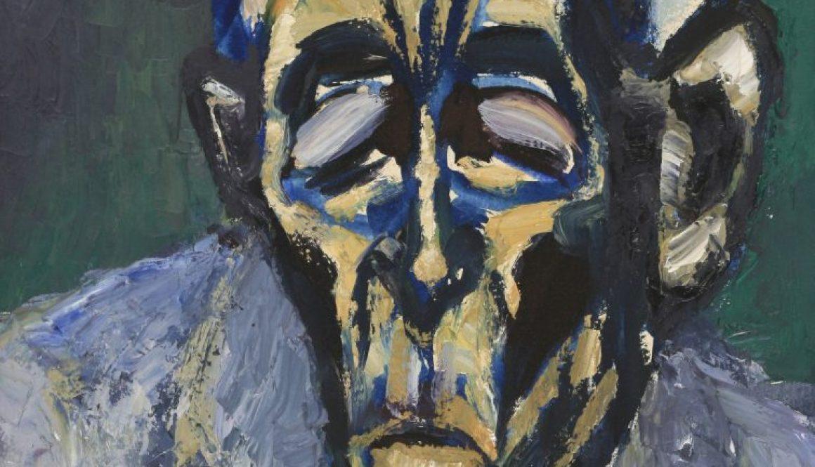 Der Resignierte Dichter, 1989, Öl auf Hartpappe, 42x32cm, Slg Landesmuseum Darmstadt
